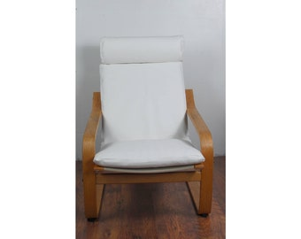 Slip Cover For The Ikea Poang Chair In White Faux Leather Fabric