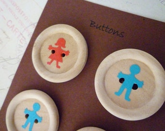 Wooden Buttons - Boy and Girl Collection - 30mm