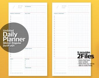 v01. Regular Size Printable Midori Travelers Notebook Insert/Undated Daily Planner/Planner Insert/Daily Scheduler/Bullet Journal/Mixed Color