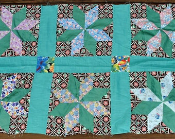 Small Vintage Quilt Squares - Total of 6 Squares - Aqua and Green