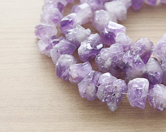 10 pcs of Natural Amethyst Polished Faceted Nugget Gemstone Beads