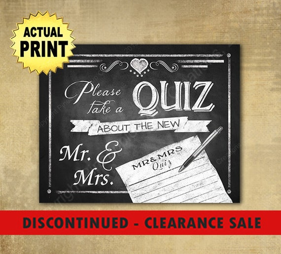 CLEARANCE SALE | Wedding sign Please take a Quiz about the new Mr & Mrs, chalkboard wedding sign, wedding print, wedding game