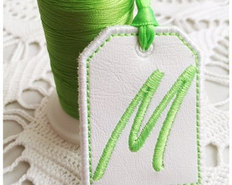 Machine Embroidery Design | Tag Letter M | Instant Download