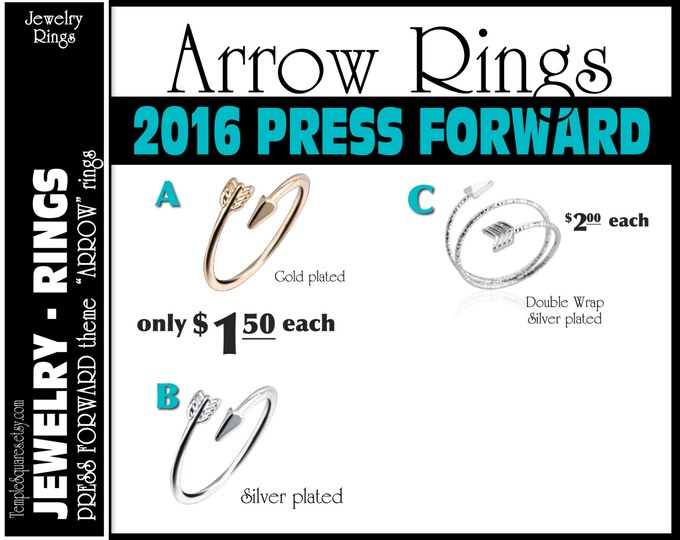 "CLEARANCE Silver Arrow Rings Pack of 10 rings only 1.00 each ""Press Forward with a Steadfastness"" 2016 theme silver YW charms"