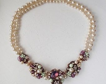 Multicolor Pearl Necklace in Purple & Green. Vintage Style Jewelry. Vintage Pearl Jewelry Rhinestones. Sweet Choker Necklace for Prom, Party