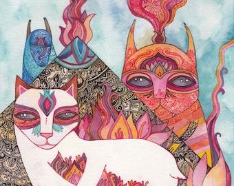 Cat Temple Original Watercolor