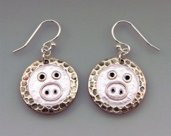 Silver and Enamel Piggy Pig Earrings. Unique. Pinky and Perkey Handmade