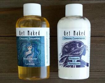 Organic Shampoo and Conditioner Travel Size -  Organic Shampoo Sample - Peppermint Shampoo - Rosemary Shampoo - Organic Conditioner