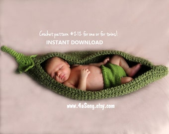 Pea Pod Photo Prop Crochet Pattern, PDF Number 212 -- INSTANT DOWNLOAD -- Over 35,000 patterns sold