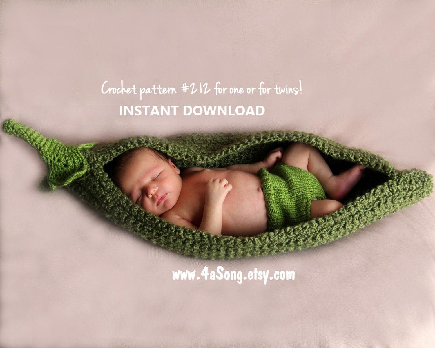 Pea Pod Photo Prop Crochet Pattern PDF Number 212 INSTANT