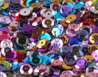 set of 20g of sequin / glitter with multicolored faceted drilled