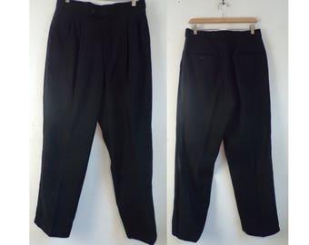 80s Black Tuxedo Pants Mens Size 34 Waist, Formal Pants, Tuxedo Pants, Black Stripe, Wool Pants, Black Pants, Formal Wear, Suspender Pants