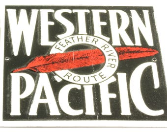 Small Vintage RR Tin Sign/Plaque - Western Pacific Railroad Tin Sign - Post Cereal Box Prize  Railroad Train Collectible Red White Black