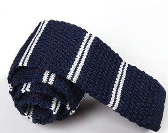 Navy Knit Ties with White Stripes.Knitted Ties.Mens Knit Neckties.Wedding Ties