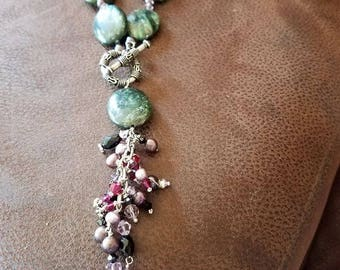 Fuschite with ruby treasure necklace