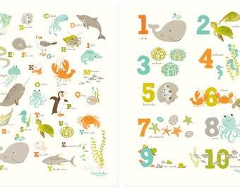 ABC 123 Ocean wall art set - Nursery art for children