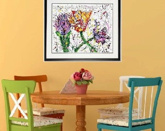 Tulip print, Tulip wall art, Spring Flowers wall art, garden room wall art, Garden Flowers,  Framed garden art, honeycomb, by Johno Prascak