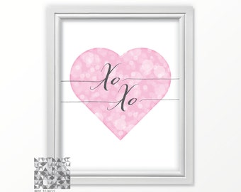 Heart Art, Heart Print, Printable XO, Love, Love Print, Love Art, XO XO, Love Poster, Pink Heart Print, Romance Print, Bedroom Art  : A0216