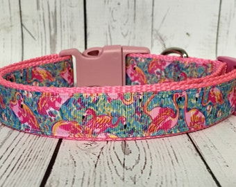 Flamingo Lily Dog Collar, Dog Gift, Spring, Summer, Pet Gift,