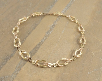 """12k Gold Filled Two Tone Hamilton Knot Link Ornate Chain Necklace 14.5"""""""