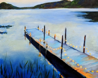 Lake and Dock Painting Archival Print of Original Oil Painting 12x16 print Evening on the Lake