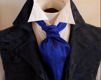 Cobalt Royal Blue Ascot Tie Cravat Necktie Neckwear DUPIONI SILK