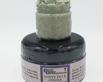 White Tea & Ginger Sugar Scrub, Emulsified Scrub, Whipped Sugar Scrub, Handmade Body Polish, Body Frosting, Exfoliating Scrub, Vegan Scrub