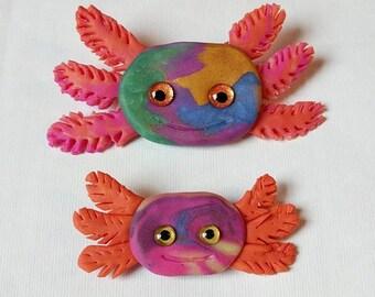 Handmade Axolotl Brooch