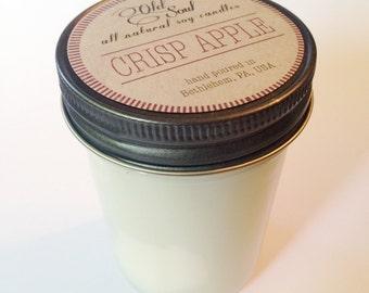 CRISP APPLE.  8 oz.  Natural Soy Candle.  Hand-Poured.