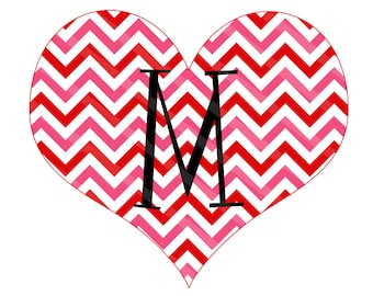 Valentine Monogram Heart Chevron Personalized Digital Image for iron-ons, heat transfers, T-Shirts, Onesies, Bibs, Towels, Aprons, You Print