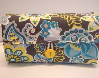 Cash Envelope Wallet  / Dave Ramsey System / Zipper Envelopes -Blue Gray Floral Paisley