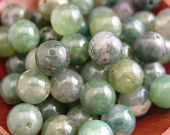 15 in Strand 8, 6, or 4mm Round Moss Agate Beads