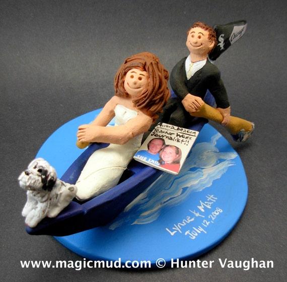 Kayak cake topper wedding