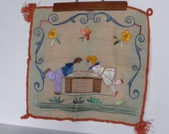 Vintage Hand Embroidered Linen, Table Runner, Pillow Cover, Wall Hanging, Pillow Panel