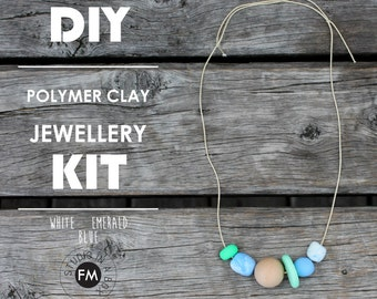 DIY Jewellery Kit//Polymer Clay necklaces//wood components//Handmade - White, Emerald & Blue Colourway