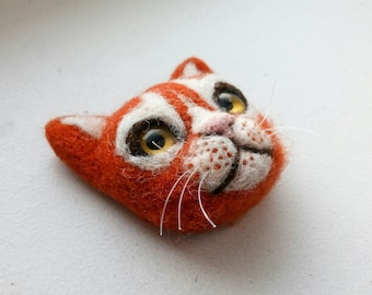 Cat brooch cat pin needle felted brooch felted jewelry needle felted animal cat jewelry cute pin cat lover gift wool jewelry felted cat