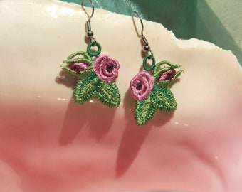 READY TO SHIP Rose Earrings, surgical steel wires, embroidered, pink, red, yellow, crystals dangle