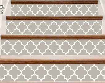 Decorative Vinyl Stair Decals . Trellis Two Decor Steps Riser Stickers . Your Choice of Color and Quantity