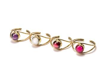 Adjustable Gemstone Rings Brass, Garnet (G1) Gemstone Handmade, Boho Rings, Tribal Jewellery Gift Boxed + Gift Bag , Free UK Delivery