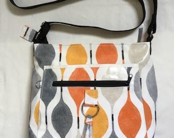Handmade oilcloth shoulder/cross body bag