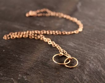 Thin Small Double Circle Link Necklace (Gold Sterling Silver Rose Gold Dainty Eternity Infinity Necklace Gifts Under 50)