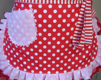 Womens Aprons - Candy Land Apron - Red Polka Dotted Half Apron - Womens Aprons - Annies Attic Aprons - Etsy Aprons - Red Aprons - Pink Apron