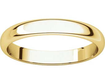 Yellow gold wedding ring dainty stackable band - 14K Yellow Gold, bridal, wedding band, 4mm, half round  band, free engraving