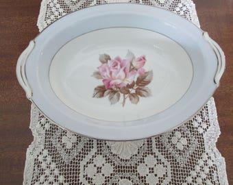 Noritake Nippon Toki Kaisha Pink Rose Oval Serving Bowl/Pattern N2803  #17189
