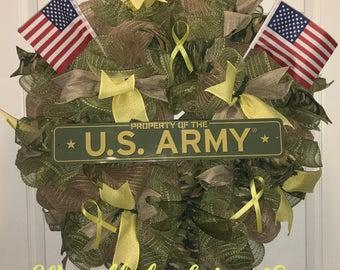 US Army Wreath, Military Wreath, Patriotic Wreath, Burlap Military Wreath, Burlap Army Wreath, Burlap patriotic Wreath