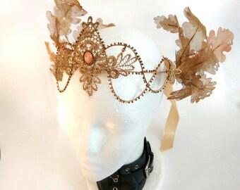 Fairy Crown. Fairy Headpiece. Dryad Headdress. Autumn tiara. Headpiece Dark Fairy. Samhain Queen. oak headband