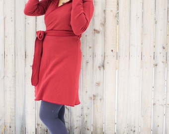 Artemis Hemp Wrap Dress - Organic Fleece or French Terry - Eco Fashion - Made to Order - Choose Your Color - Fall Winter - Wrap Jacket