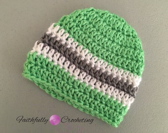 Newborn beanie.. Lime green gray and white stripes.. Everyday beanie.. Ready to ship.. Photography prop