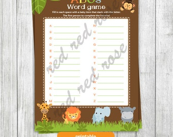 Baby Shower ABCs Game, Jungle Safari ABCs Game, Jungle Animals ABCs Word Search, Safari Animals Baby Shower Word ABCs game INSTANT DOWNLOAD
