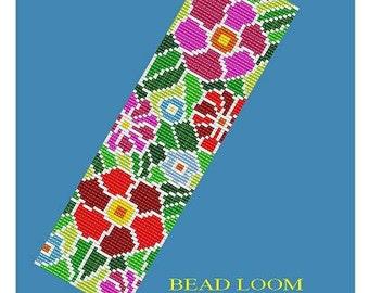 Bead Loom Pattern Floral Mosaic Bracelet Pattern PDF